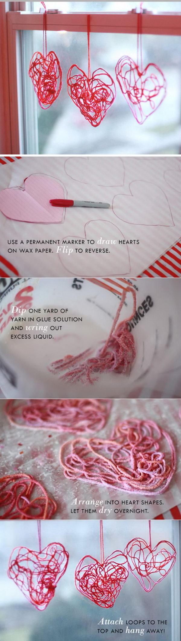 Yarn And Mod Podge Hearts.