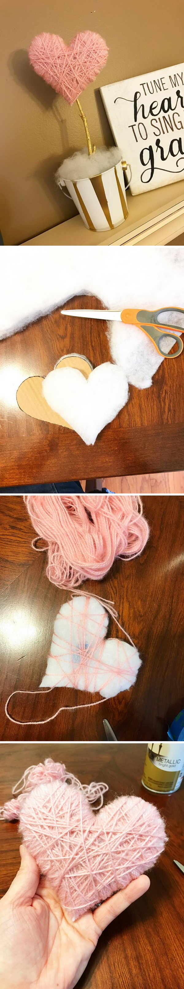 Pink Yarn Wrapped Heart Decoration.