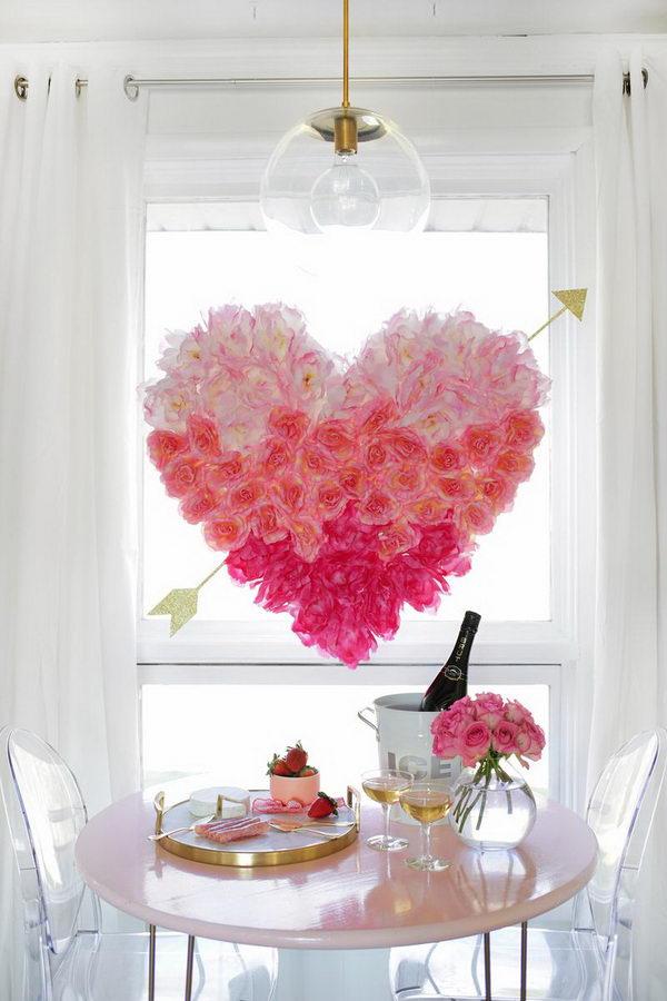DIY Hanging Flower Heart.