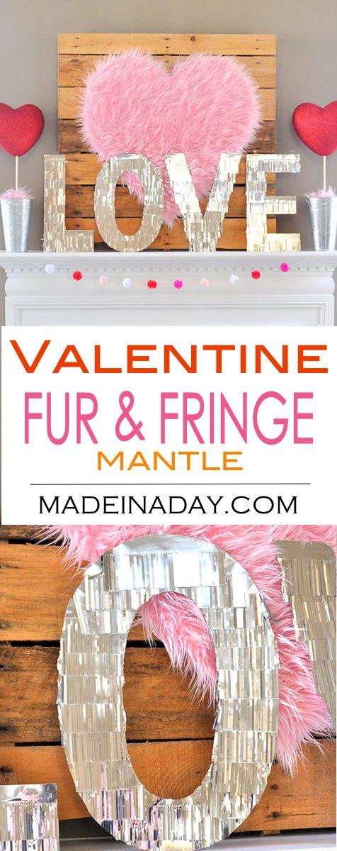 Valentine Heart + Faux Fur Topiaries Mantle Decor.