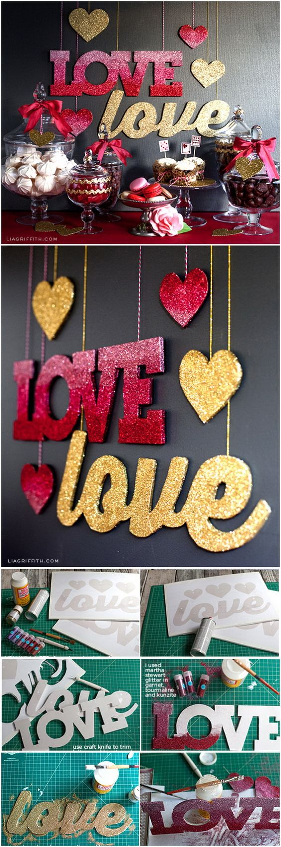 DIY Love Banners in Pink Ombré and Gold Glitter.