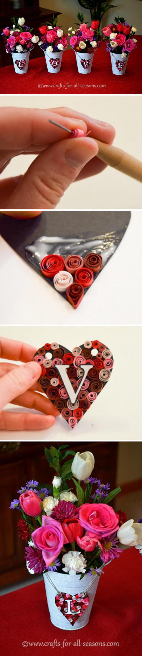 DIY Valentine's Day Floral Arrangement.