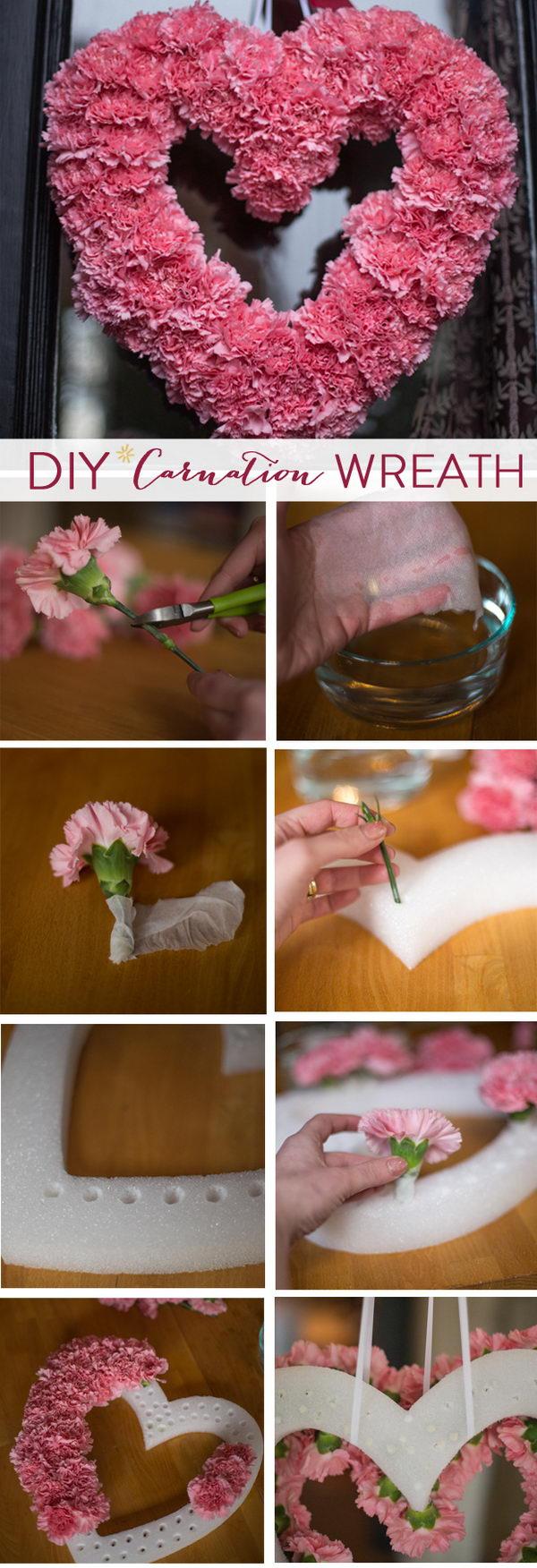 DIY Valentine's Carnation Wreath.