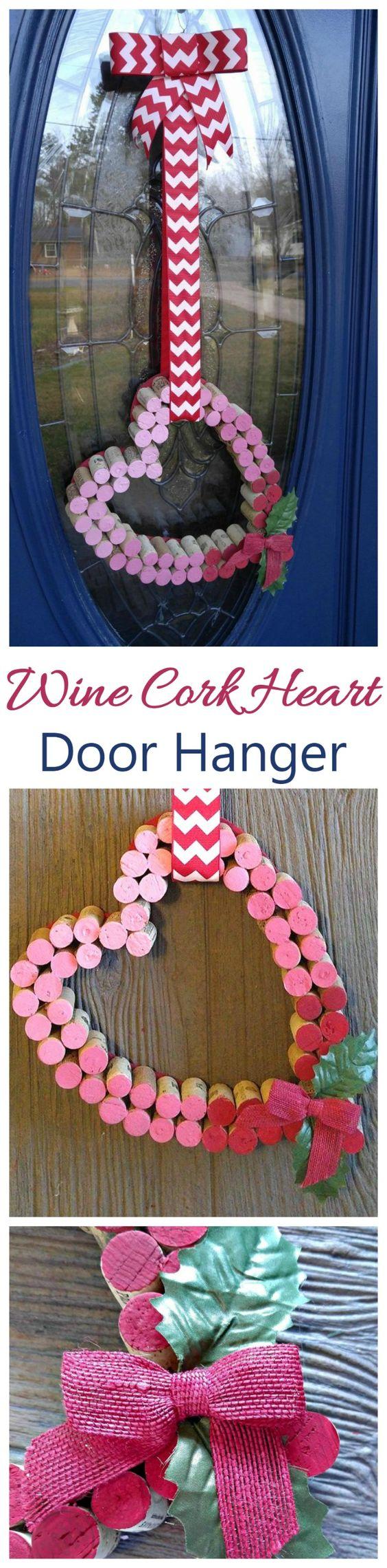 Wine Cork Heart Door Decoration.
