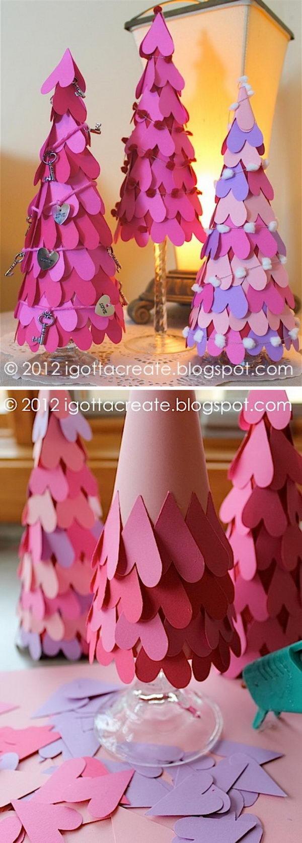 DIY Valentine Heart Cone Tree.
