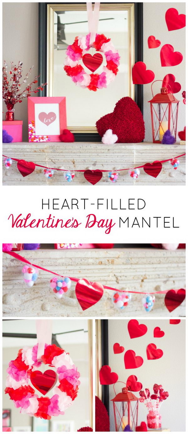 Heart Filled Valentine's Day Mantel.