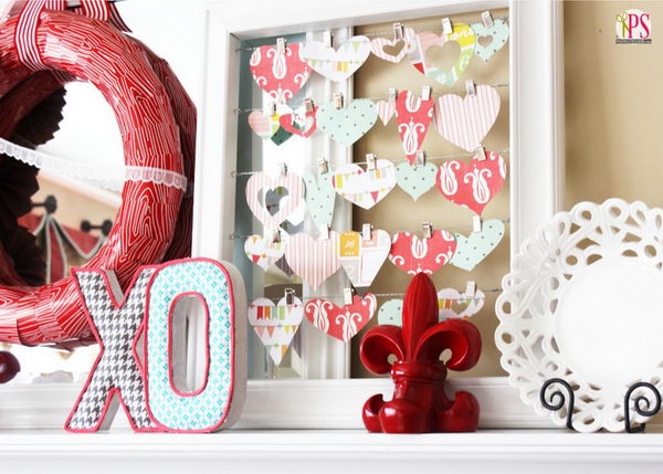 Scrapbook Paper Heart Frame Art.