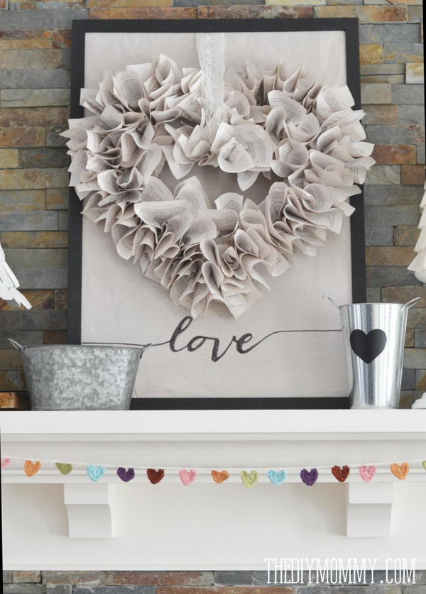 DIY Book Page Heart Wreath.