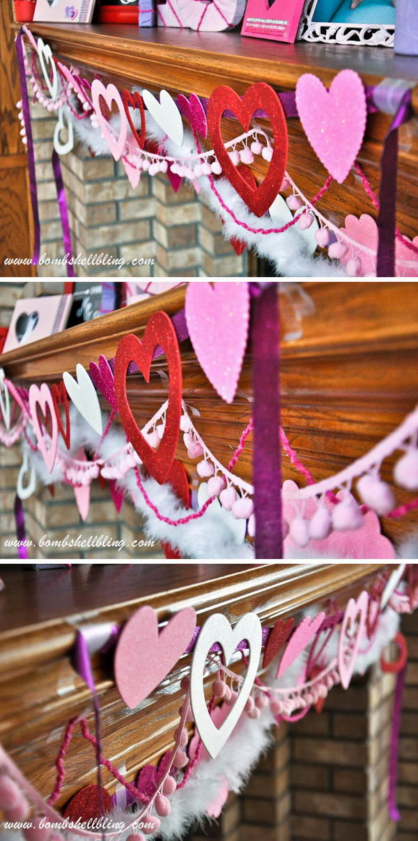 DIY Glitter Heart Garlands.