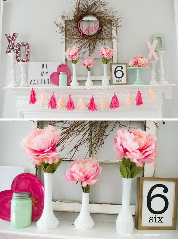 Valentines Mint + Pink Mantel Decoration.