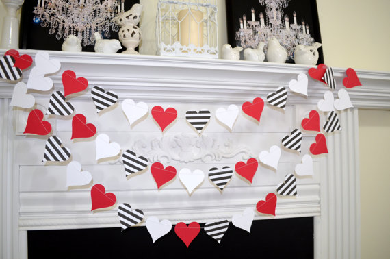 Red, White And Black Paper Heart garland.