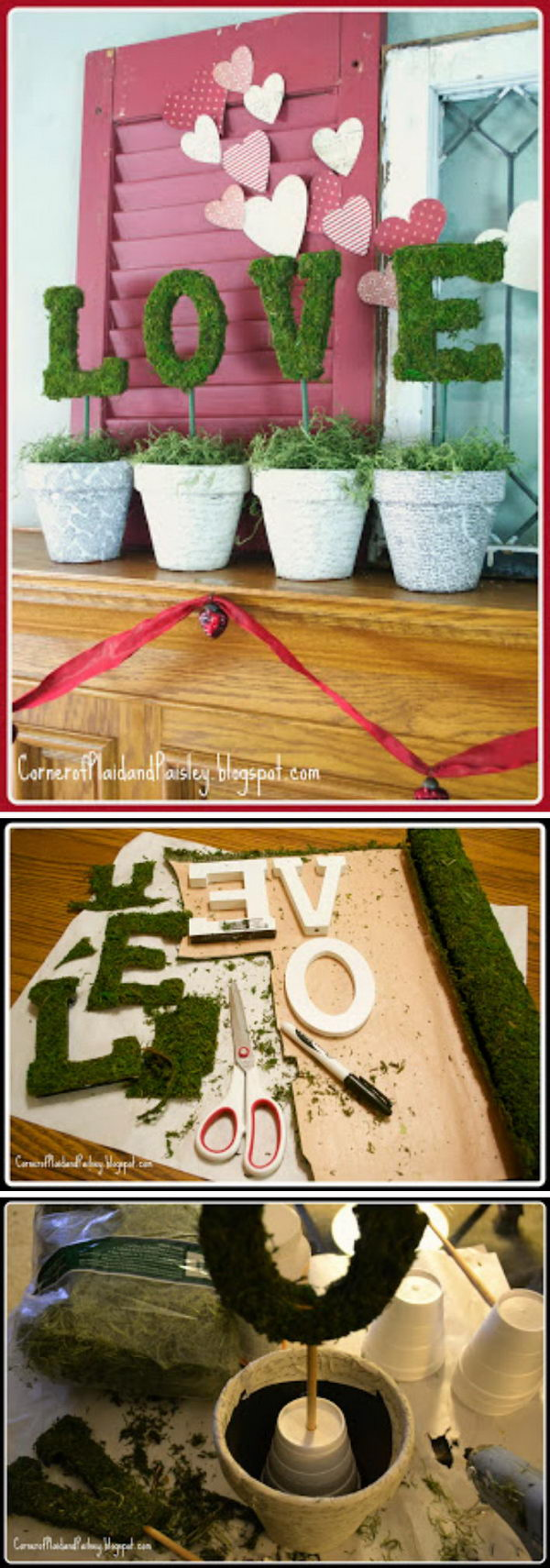 DIY Topiary Moss Love Letters.
