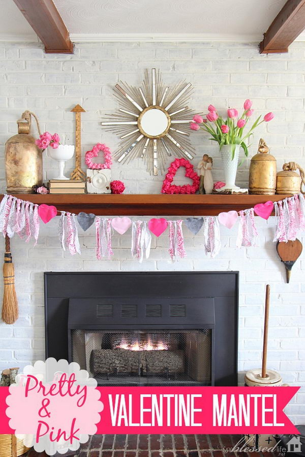 Pink Valentine Mantel Decoration.