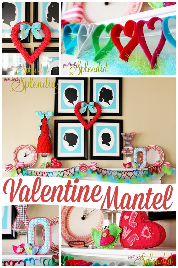Adorable Valentine's Day Mantel In Bright Colors.