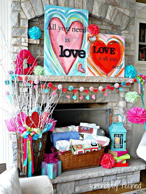 Decorate The Mantel With Valentines Day Heart Paintings.