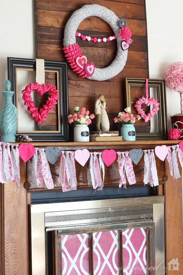 Valentines Day Wreath And Tassel Decoration For Mantel.