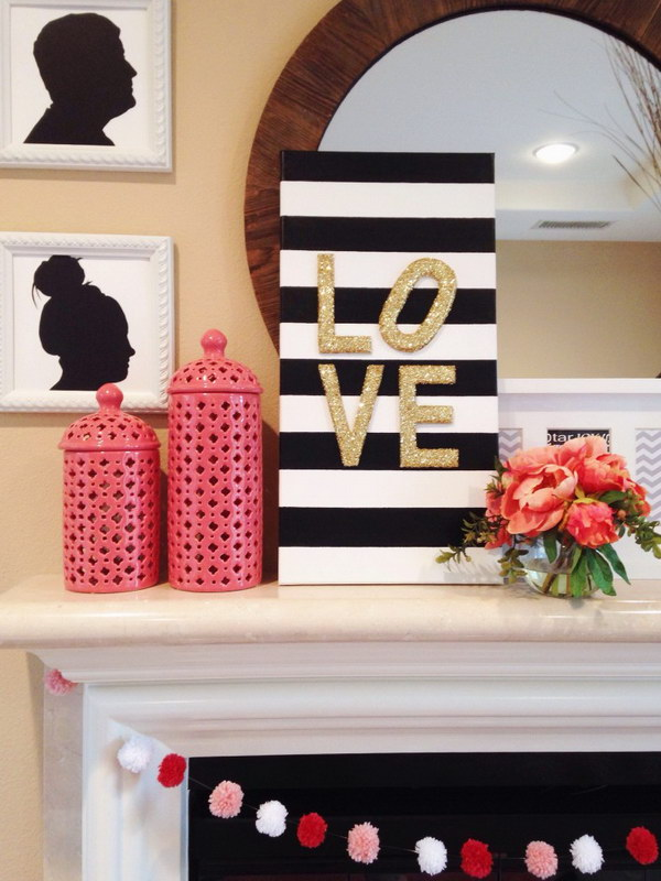 DIY Glitter Love Canvas Sign And Pom Pom Garland.