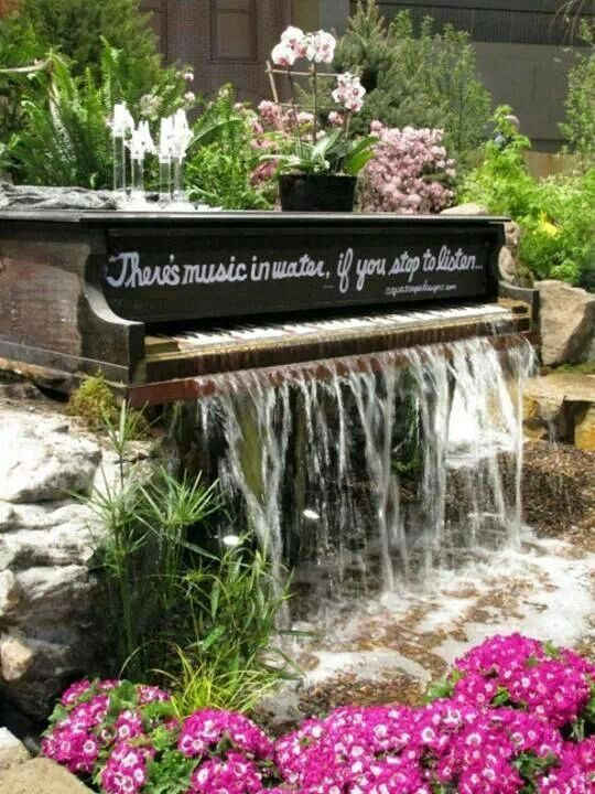 Old Piano Turned Water Feature.