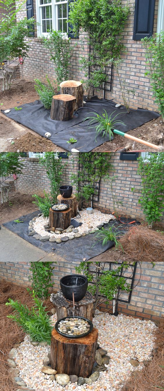 DIY Log Fountain.