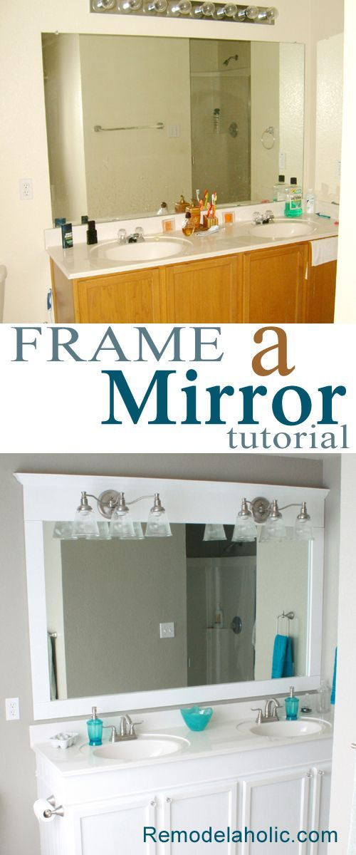 Bathroom Mirror Framed with Crown Molding.