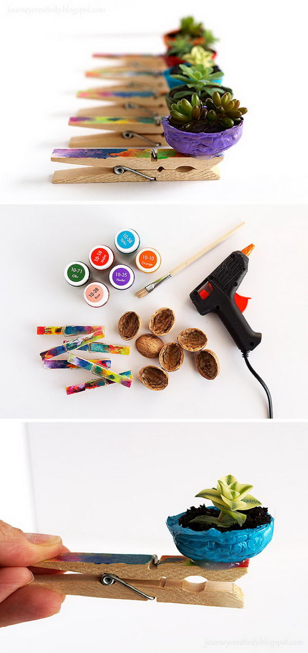 DIY Nut Pots Using Nut Shells And Clothespins.