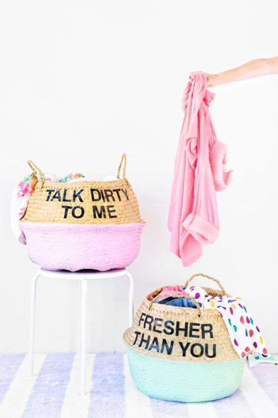 DIY Graphic Laundry Baskets.