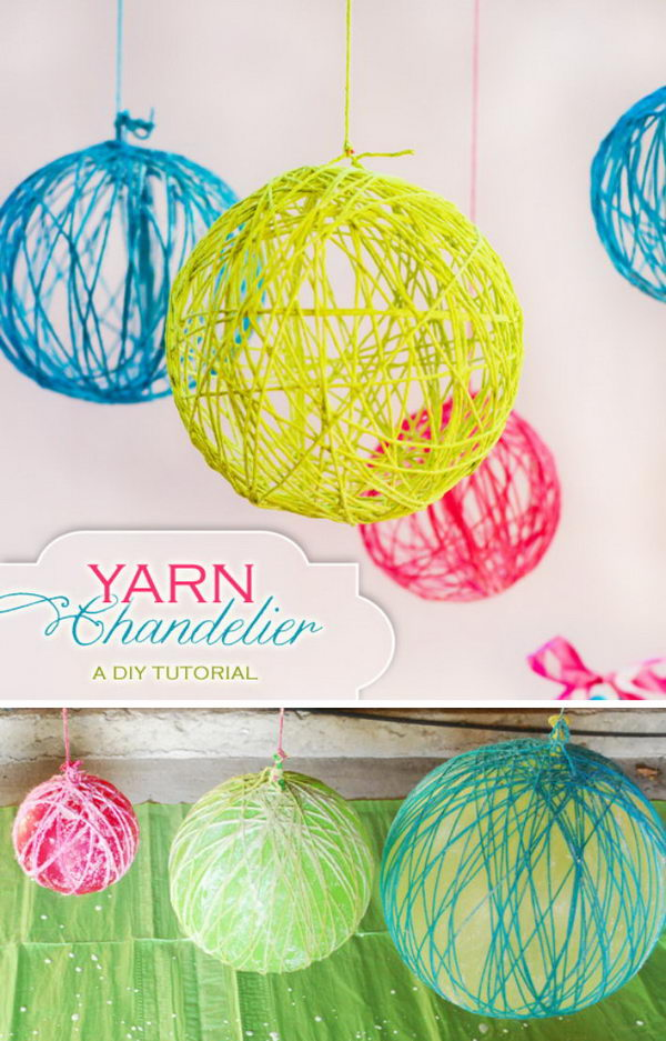 DIY Yarn Chandelier.
