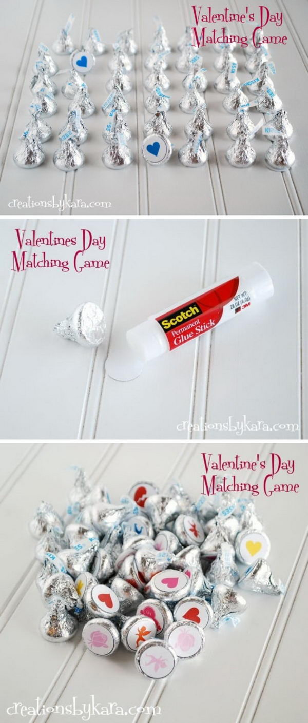 Valentine's Day Kisses Matching Game.