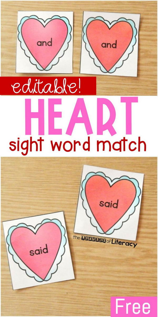 Heart Match Valentine's Day Sight Word Game.