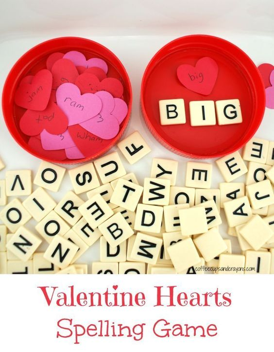 Valentine Hearts Spelling Game.