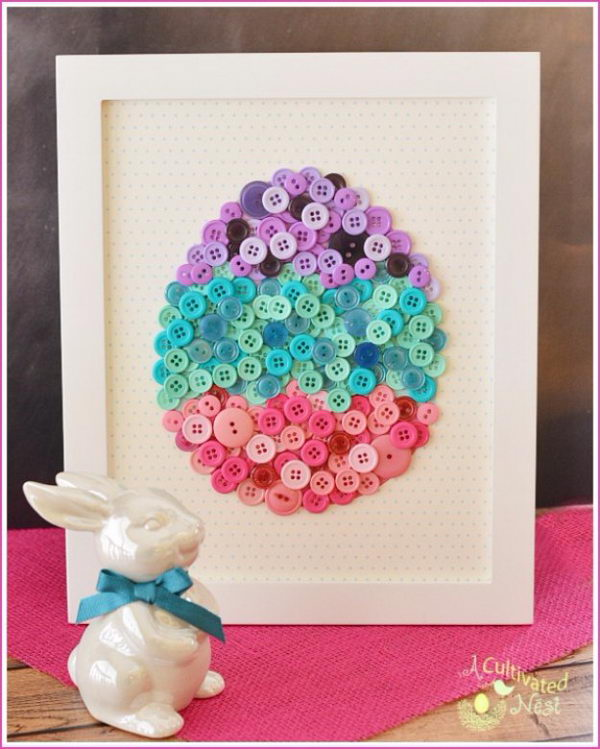 DIY Easter Egg Button Craft.