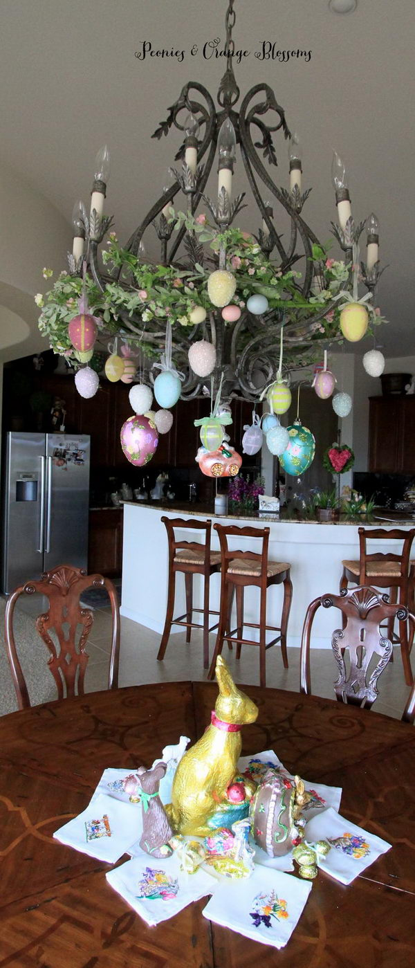Chandelier Decorated With Easter Eggs.