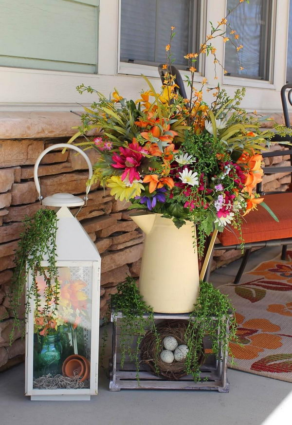 Watering Can and Lantern Floral Displaying.