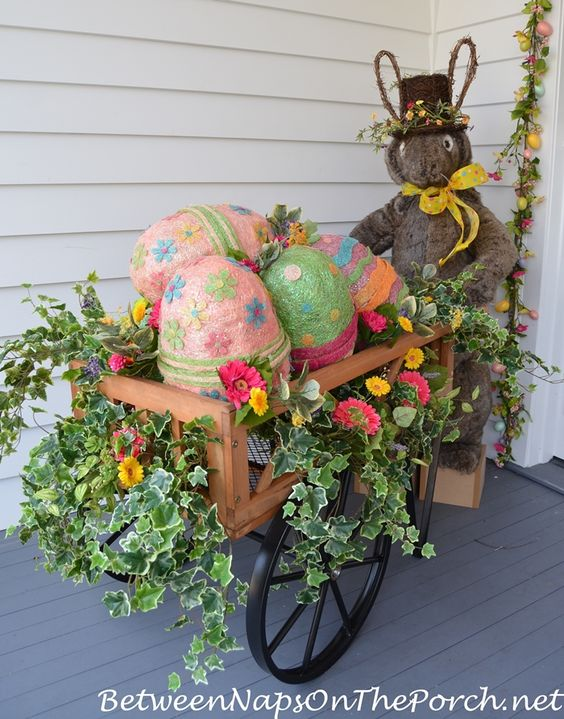Bunny Egg Cart Decoration.
