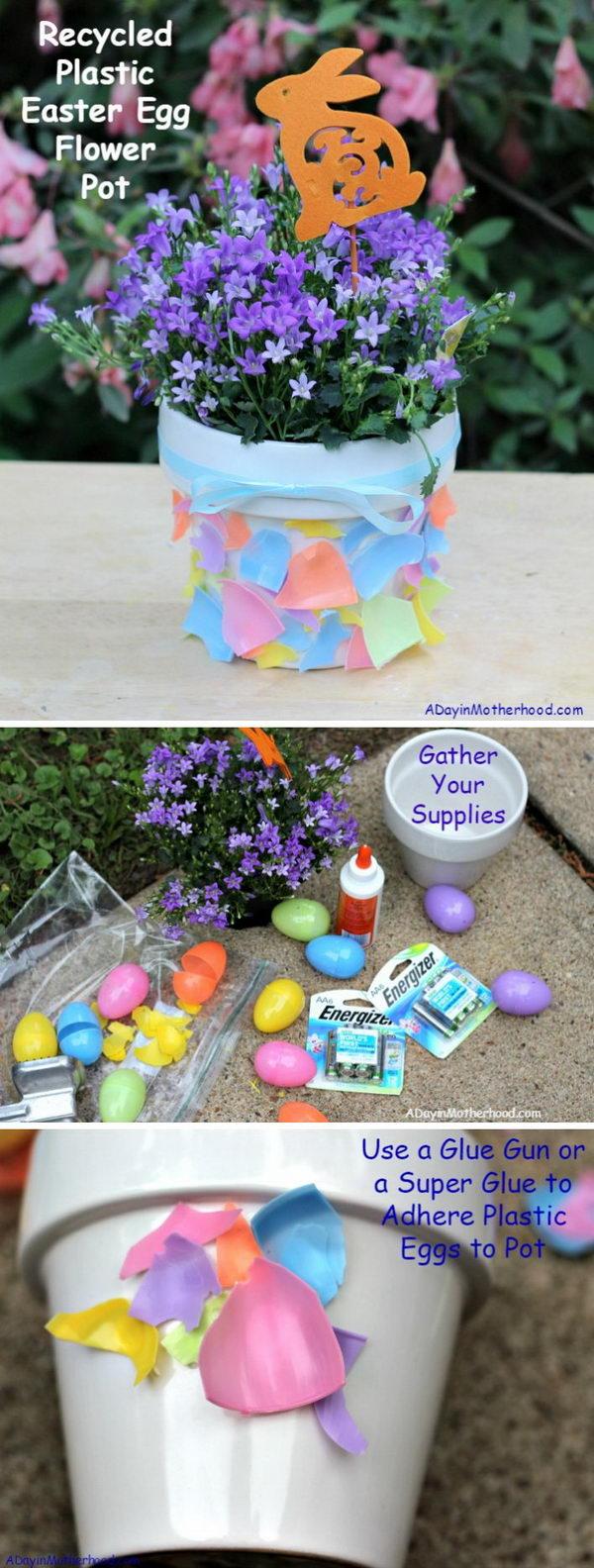 Recycled Plastic Easter Egg Flower Pot.