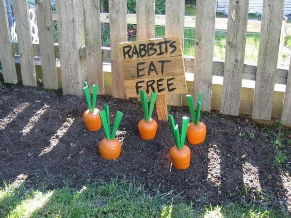 DIY Wooden Yard Carrots.