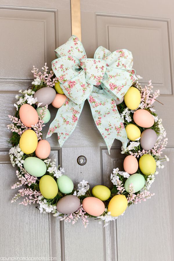 Pastel Egg Wreath with Bow.