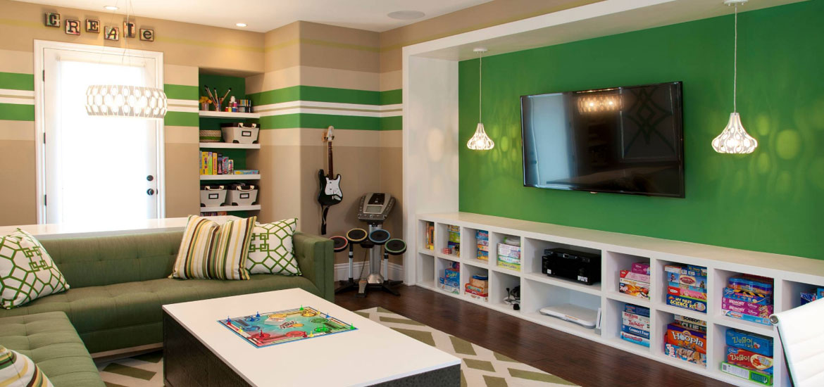 best video game room ideas hative. Black Bedroom Furniture Sets. Home Design Ideas