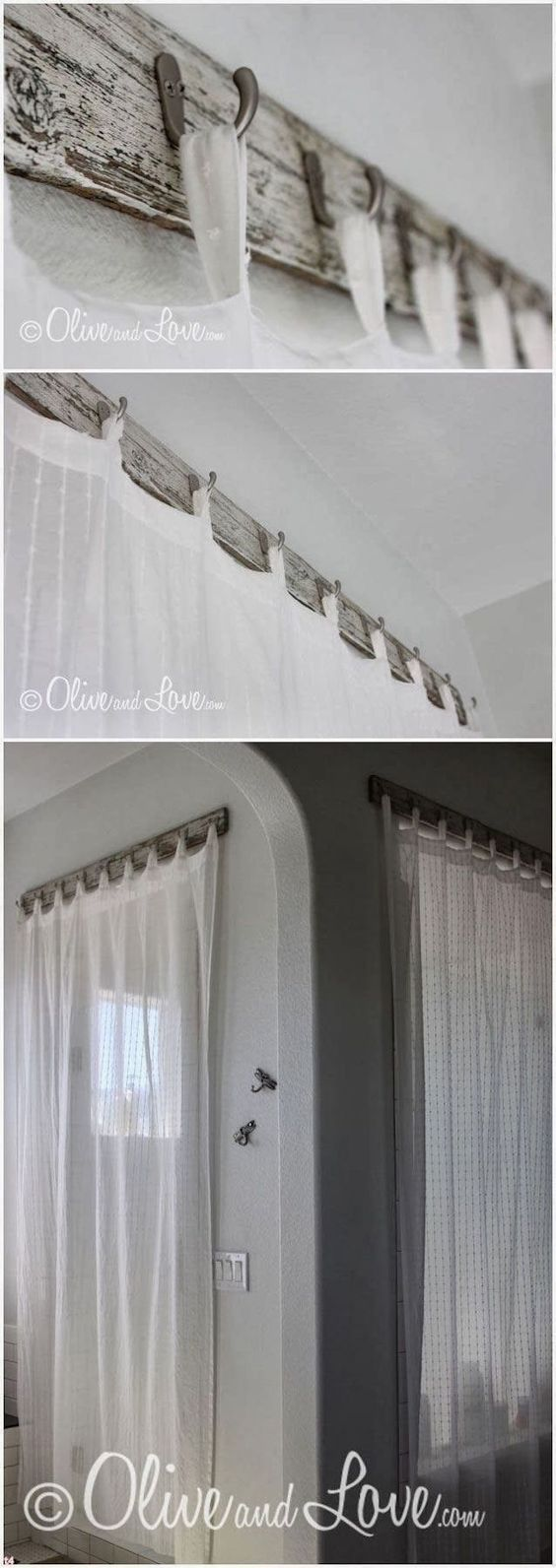 Curtains with Reclaimed Wood.