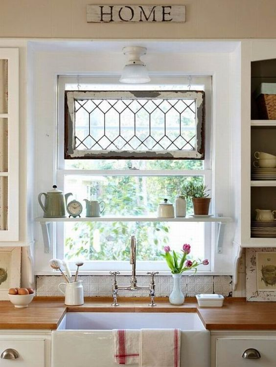 An Old Window And A Shelf Above Kitchen Sink.