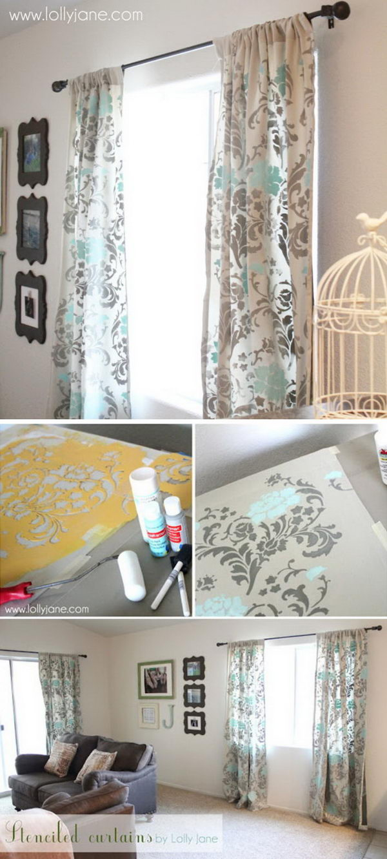 DIY Stenciled Curtains.