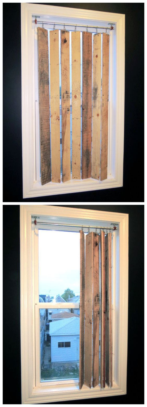 DIY Pallet Wood Vertical Blinds.
