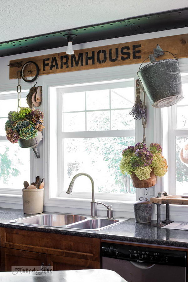 DIY Industrial Farmhouse Window Valance Sign.