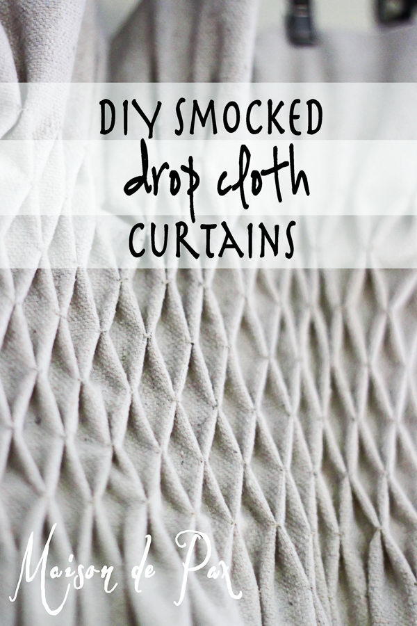DIY Drop Cloth Smocked Curtains.