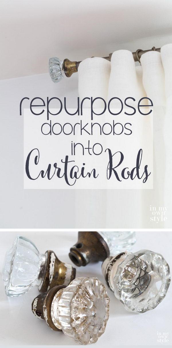 DIY Door Knob & Industrial Pipe Curtain Rods.
