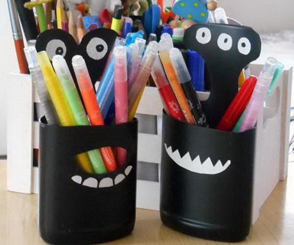 Diy Plastic Bottle Pencil Holder Hative